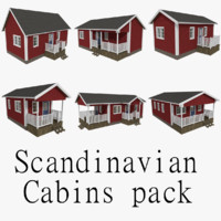 pack scandinavian cabins interior exterior 3d 3ds
