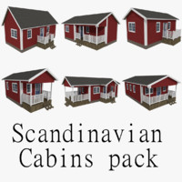 pack scandinavian cabins 3d model