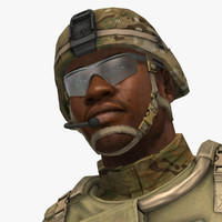 military male soldier set 3d model