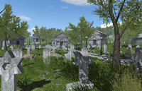 3d model of cemetery plants trees