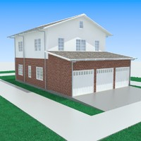 3d model of garage-3 house garage