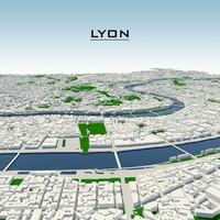 3d lyon cityscape model