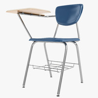 student desk school 3d model