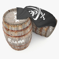 3d wooden barrels rum pirates