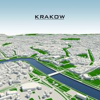 krakow cityscape 3d model
