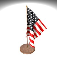 3d american flag office desk model