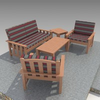 outdoor furniture-3 sofa set 3d max