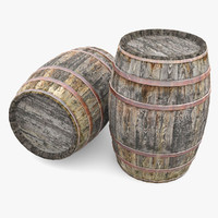 old wooden barrels 3ds