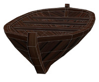3d wooden rowboat model
