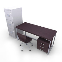 office furniture pack desk chair 3d model