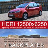 Sunny city square HDRI 360 panorama
