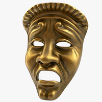 3d model of theatre tragedy mask