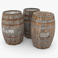 3d 3ds wooden barrels