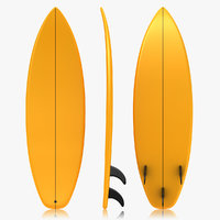 realistic surfboard orange 3d obj
