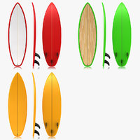 3d model realistic surfboard set 3
