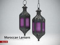 3d model purple moroccan candle lantern