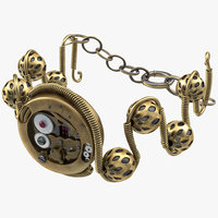 steampunk jewelry bracelet 3d model