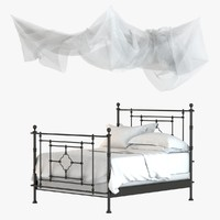 3d model bed canopy quatrefoil iron