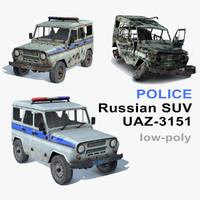 3d model russian uaz-3151 set