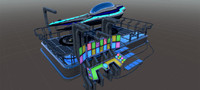 sci-fi car docking station 3d max