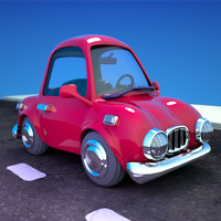 Cartoon Car Red 2 Door Sedan