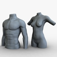 3d ma male female mannequins