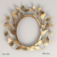 3d oval frame oak leaves