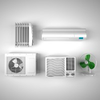 3d model set climate equipment aircon