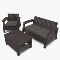 wicker garden furniture keter 3d max