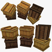 3d obj wooden box stylized 1