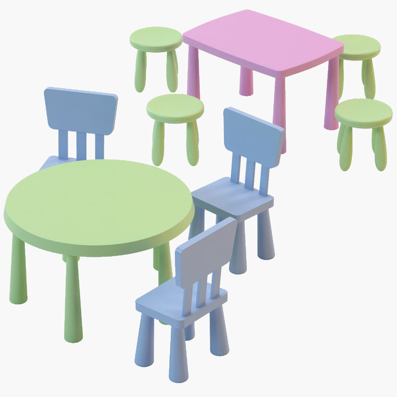 Ikea mammut chair tables 3d model for High table and chairs ikea