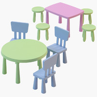 3d ikea mammut chair tables