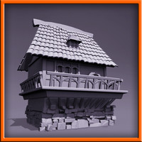 medieval style house 3d 3ds