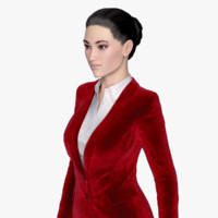 3d rigged female business suit model