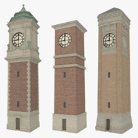 pack clock towers 3d obj