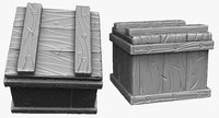 sculpt stylized wooden box 3d 3ds
