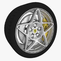 3d sport wheel tire brake disk model