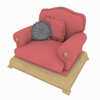 3d model of chair rendered scanline