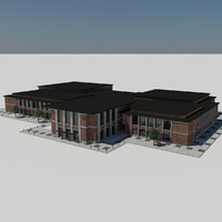 3d - modern city school model