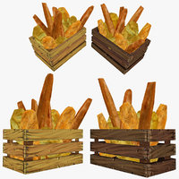 3d crate assorted bread model