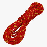 3d rock climbing rope red model