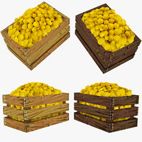 3d model crate lemons polys