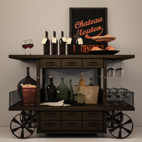 set decorative wine 3d model