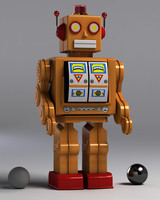 vintage tin robot toy 3d model