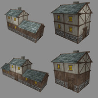 3d model pack low-poly medieval buildings