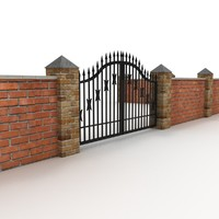 Brick Fence and Metal Gates