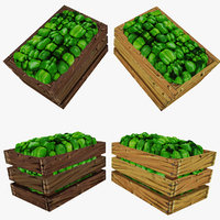 maya crate green peppers polys