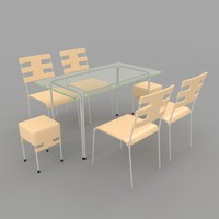 3ds max dining table chairs-6 chairs