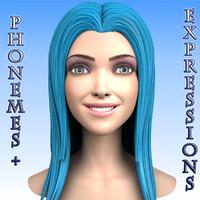 cartoon girl head morph max