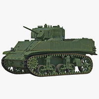 m5a1 stuart light wwii 3d max